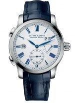 Мужские наручные часы Ulysse Nardin Classico-3243-132/E0 со временем второго часового пояса в стальном корпусе, на белоснежном эмалевом циферблате вороненые римские цифры и стрелки синего цвета, синий кроко ремешок.