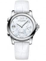 Женские наручные часы Ulysse Nardin Classico-3243-222/390 со временем второго часового пояса в стальном корпусе, на светлом перламутровом циферблате родиевые римские цифры и стрелки, бриллиантовые индексы, белый кроко ремешок.