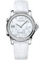 Женские наручные часы Ulysse Nardin Classico-3243-222B/390 со временем второго часового пояса в стальном корпусе с бриллиантовым рантом, на светлом перламутровом циферблате родиевые римские цифры и стрелки, бриллиантовые индексы, белая кроко