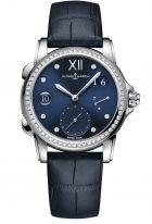 Женские наручные часы Ulysse Nardin Classico-3243-222B/393 со временем второго часового пояса в стальном корпусе с бриллиантовым рантом, на синем гильошированном циферблате родиевые римские цифры и стрелки, бриллиантовые индексы, синий кроко