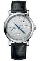 Мужские наручные часы Ulysse Nardin Classico-333-900 с вечным календарем в стальном корпусе, на серебристом матовом циферблате продолговатые часовые метки, вороненные стрелки, черная кожа кроко.