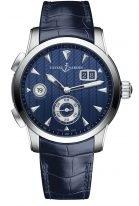 Мужские наручные часы Ulysse Nardin Classico-3343-126LE/93 со временем второго часового пояса в стальном корпусе, на синем гильошированном циферблате родиевые часовые метки и люминесцентные стрелки, синий ремешок кроко.