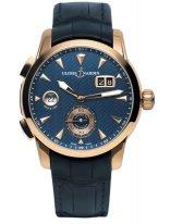 Мужские наручные часы Ulysse Nardin Classico-3346-126LE/93 со временем второго часового пояса в розовом золоте, на синем гильошированном циферблате золотые часовые метки и люминесцентные стрелки, синий ремешок кроко.