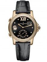 Женские наручные часы Ulysse Nardin Classico-3346-222B/30-02 со временем второго часового пояса в розовом золоте с бриллиантовым рантом, на черном циферблате золотые римские цифры и стрелки, бриллиантовые индексы, черный кроко.