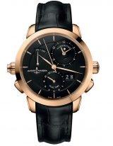 Мужские наручные часы Ulysse Nardin Classico-672-05/92со временем второго часового пояса и будильником в розовом золоте, на черном циферблате золотые часовые индексы и золотые стрелки, черный кроко ремешок.
