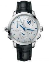 Мужские наручные часы Ulysse Nardin Classico-673-05/90 со временем второго часового пояса и будильником в стальном корпусе, на серебристом циферблате вороненные часовые индексы и стрелки, черная кожа кроко.