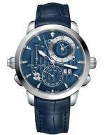 Мужские наручные часы Ulysse Nardin Classico-673-05/93-BQ со временем второго часового пояса, с будильником в стальном корпусе, на синем циферблате родиевые часовые индексы и люминесцентные стрелки, синяя кожа кроко.