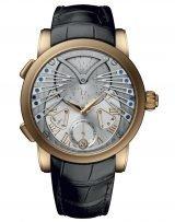 Мужские наручные часы Ulysse Nardin Classico-6902-125/VIV с музыкальным механизмом в розовом золоте, на серебристом циферблате верхняя часть напоминает кошачью мордочку с усами, а на нижней части золотые римские цифры, черный ремешок кроко.