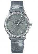 Женские наручные часы Ulysse Nardin Classico-8150-201BC/E1 в белом золоте с бриллиантовым рантом, на сером гильошированном циферблате родиевые часовые метки и родиевые стрелки, серый кроко ремешок.