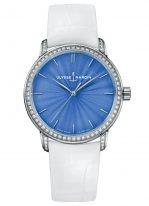 Женские наручные часы Ulysse Nardin Classico-8150-201BC/E3 в белом золоте с бриллиантовым рантом, на голубом эмалевом циферблате родиевые часовые метки и родиевые стрелки, белый кроко ремешок.