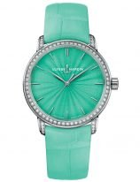 Женские наручные часы Ulysse Nardin Classico-8150-201BC/E8 в белом золоте с бриллиантовым рантом, на бирюзовом эмалевом циферблате родиевые часовые метки и родиевые стрелки, бирюзовый ремешок кроко.