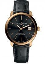 Мужские наручные часы Ulysse Nardin Classico-8152-111-2/92 с датой в розовом золоте, на черном циферблате золотые часовые метки и люминесцентные стрелки, черный ремешок кроко.