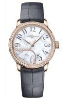 Женские наручные часы Ulysse Nardin Classico-8152-230B/60-01 в розовом золоте с бриллиантовым рантом, на светлом перламутровом циферблате черные арабские цифры и золотые стрелки, серая кожа кроко.