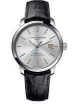 Мужские классические наручные часы Ulysse Nardin Classico-8153-111-2/90 в стальном корпусе, на серебристом циферблате золотые часовые метки и люминесцентные стрелки, черный кроко ремешок.