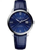 Мужские классические наручные часы Ulysse Nardin Classico-8153-111-2/E3 в стальном корпусе, на синем гильошированном циферблате родиевые часовые метки и римские цифры, люминесцентные стрелки, синий ремешок кроко.