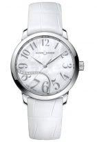 Женские наручные часы Ulysse Nardin Classico-8153-201/60-01 в стальном корпусе, на светлом перламутровом циферблате арабские цифры и родиевые стрелки, белый ремешок кроко.