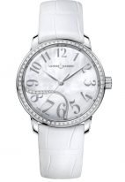 Женские наручные часы Ulysse Nardin Classico-8153-201B/60-01 в стальном корпусе с бриллиантовым рантом, на светлом перламутровом циферблате арабские цифры и родиевые стрелки, белая кожа кроко.