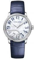 Женские наручные часы Ulysse Nardin Classico-8153-201B/60-03 в стальном корпусе с бриллиантовым рантом, на светлом перламутровом циферблате синие арабские цифры и родиевые стрелки, синий кроко ремешок.