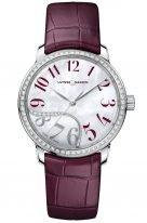Женские наручные часы Ulysse Nardin Classico-8153-201B/60-06 в стальном корпусе с бриллиантовым рантом, на светлом перламутровом циферблате бордовые арабские цифры и родиевые стрелки, бордовый ремешок кроко.