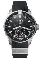 Мужские наручные часы Ulysse Nardin Diver-1183-170-3/92 с запасом хода в титановом корпусе, на черном зернистом циферблате люминесцентные часовые метки и широкие стрелки, черный каучук.