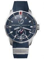 Мужские наручные часы Ulysse Nardin Diver-1183-170-3/93 с запасом хода в титановом корпусе, на синем зернистом циферблате люминесцентные часовые метки и широкие стрелки, синий каучук.