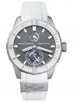 Женские/мужские наручные часы Ulysse Nardin Diver-1183-170LE-3/90-GW с запасом хода в титановом корпусе, на сером зернистом циферблате люминесцентные часовые метки и широкие стрелки, белый каучук.