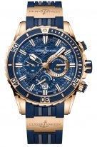 Мужские наручные часы Ulysse Nardin Diver-1502-151-3/93 хронограф в розовом золоте, на синем циферблате счетчики хронографа на стильном мотиве волн, люминесцентные часовые метки и широкие стрелки, синий каучуковый ремешок.