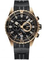 Мужские наручные часы Ulysse Nardin Diver-1502-151-3C/92 хронограф в розовом золоте, на черном циферблате счетчики хронографа, люминесцентные часовые метки и широкие стрелки, черный каучуковый ремешок.
