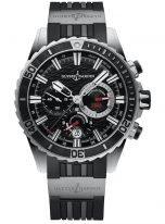 Мужские наручные часы Ulysse Nardin Diver-1503-151-3/92 хронограф в стальном корпусе, на черном циферблате счетчики хронографа на стильном мотиве волн, люминесцентные часовые метки и широкие стрелки, черный каучуковый ремешок.