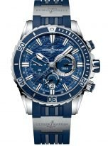 Мужские наручные часы Ulysse Nardin Diver-1503-151-3/93 хронограф в стальном корпусе, на синем циферблате счетчики хронографа на стильном мотиве волн, люминесцентные часовые метки и широкие стрелки, синий каучуковый ремешок.