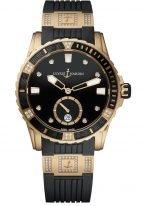 Женские наручные часы Ulysse Nardin Diver-3202-190-3C/12_12 в розовом золоте с бриллиантами, на черном циферблате люминесцентные часовые метки, бриллиантовые индексы и широкие стрелки, черный каучук с бриллиантовыми вставками.