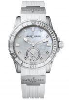 Женские наручные часы Ulysse Nardin Diver-3203-190-3/10 в стальном корпусе, на светлом перламутровом циферблате люминесцентные часовые метки, бриллиантовые индексы и широкие стрелки, белый каучук.