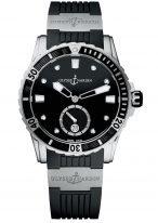 Женские наручные часы Ulysse Nardin Diver-3203-190-3/12 в стальном корпусе, на черном циферблате люминесцентные часовые метки, бриллиантовые индексы и широкие стрелки, черный каучук.