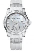 Женские наручные часы Ulysse Nardin Diver-3203-190-3C/10_10 в стальном корпусе с бриллиантами, на белом перламутровом циферблате люминесцентные часовые метки, бриллиантовые индексы и широкие стрелки, белый каучук.
