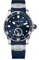 Женские наручные часы Ulysse Nardin Diver-3203-190-3C/10_13 в стальном корпусе с бриллиантами, на синем циферблате люминесцентные часовые метки, бриллиантовые индексы и широкие стрелки, синий каучук с бриллиантовыми вставками.