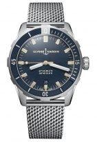 Мужские наручные часы Ulysse Nardin Diver-8163-175-7MIL/9 в стальном корпусе, на синем циферблате люминесцентные часовые метки и широкие стрелки, стальной миланский браслет.