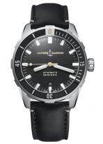 Мужские наручные часы Ulysse Nardin Diver-8163-175/92 в стальном корпусе, на черном циферблате люминесцентные часовые метки и широкие стрелки, черный телячий ремешок.