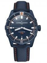 Мужские наручные часы Ulysse Nardin Diver-8163-175LE/93-BLUESHARK в стальном корпусе с покрытием, на синем циферблате люминесцентные часовые метки и широкие стрелки, тканевый синий ремешок.