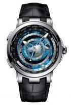 Мужские наручные часы Ulysse Nardin Executive-1069-113/01 астрономические часы с мировым временем в платиновом корпусе, на темном циферблате родиевый диск мирового времени, широкие люминесцентные стрелки, черная кожа кроко.
