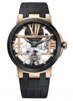 Мужские наручные часы Ulysse Nardin Executive-1712-139 с турбийоном в розовом золоте с керамическим рантом, на скелетированном циферблате большие золотые римские цифры, широкие черные стрелки, в нижней части каретка турбийона, черная кожа.