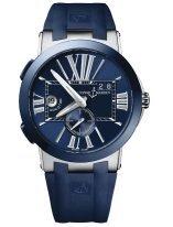 Мужские наручные часы Ulysse Nardin Executive-243-00-3/43 со временем второго часового пояса в стальном корпусе с керамическим рантом, на синем циферблате люминесцентные большие римские цифры и часовые метки, широкие стрелки, синий каучук.