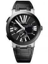 Мужские наручные часы Ulysse Nardin Executive-243-00/42 со временем второго часового пояса в стальном корпусе, на черном циферблате люминесцентные большие римские цифры и часовые метки, широкие стрелки, черная кожа кроко.