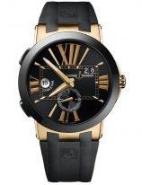 Мужские наручные часы Ulysse Nardin Executive-246-00-3/42 со временем второго часового пояса в розовом золоте с керамическим рантом, на черном циферблате золотые большие римские цифры и часовые метки, широкие стрелки, черный каучук.