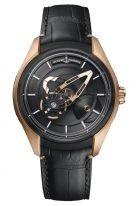 Мужские наручные часы Ulysse Nardin Freak-2305-270/02 авангардный турбийон в розовом золоте с черненным титаном, на черном циферблате центральный мост в качестве минутной стрелки, а колеса показывают часы, черная кожа кроко.
