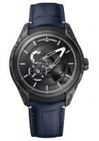 Мужские наручные часы Ulysse Nardin Freak-2303-270/CARB с авангардным турбийоном в карбоновом корпусе с черненным титаном, на черном циферблате центральный мост в качестве минутной стрелки, а колеса показывают часы, черный кроко.