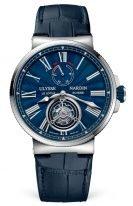 Мужские спортивные часы Ulysse Nardin Marine 1283 181_E3 турбийон с индикатором запаса хода в стальном корпусе, синий циферблат с римскими цифрами, синяя кожа кроко