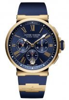 Мужские наручные часы Ulysse Nardin Marine-1532-150-3/43 хронограф с годовым календарем в розовом золоте, на синем циферблате золотые римские цифры и люминесцентные стрелки, синий каучуковый ремешок.