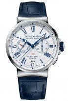 Мужские наручные часы Ulysse Nardin Marine-1533-150/E0 хронограф с годовым календарем в стальном корпусе, на белом эмалевом циферблате синие римские цифры и люминесцентные стрелки, синяя кожа кроко.