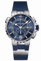 Мужские наручные часы Ulysse Nardin Marine-1553-155-3/43 хронограф с функцией обратного отсчета в стальном корпусе, на синем циферблате люминесцентныеримские цифры и стрелки и желтая шкала обратного отсчета, синий каучук.