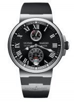 Мужские наручные часы Ulysse Nardin Marine-1183-126-3/42 с индикатором запаса хода и датой в стальном корпусе, на черном циферблателюминесцентные римские цифры и стрелки, черный каучуковый ремешок.